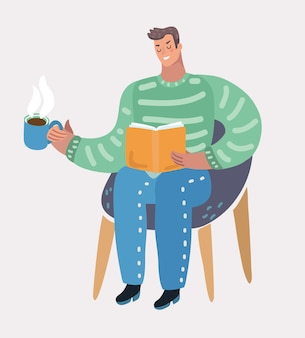 Man sitting at chair and reading book