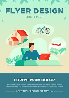 Man sitting at computer and planning his vacation. office worker thinking about country house, travel by bike or plane. vector illustration for dream, thought, lifestyle, wealth concept