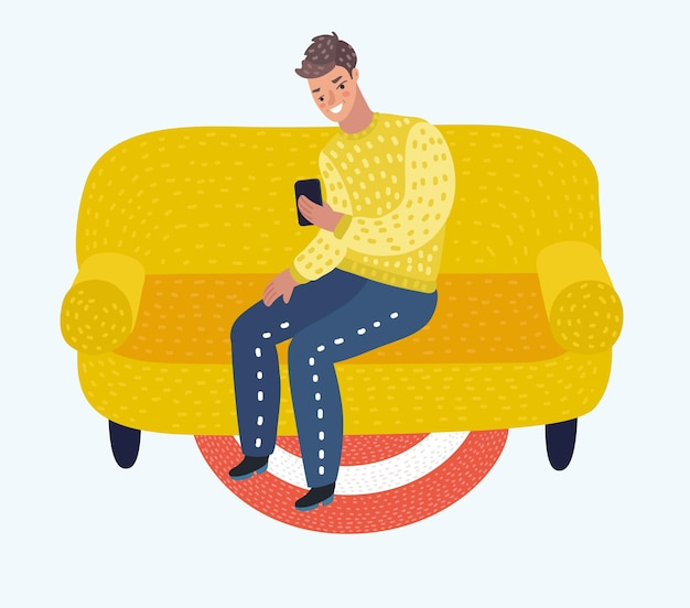 Man sitting on couch with phone