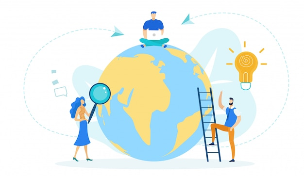 Man sitting on globe working with laptop vector.