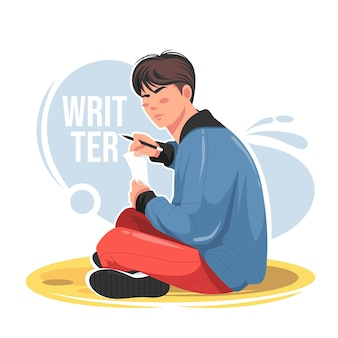 Man sitting holding paper and pen flat vector illustration