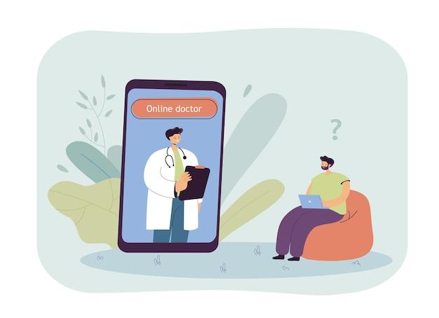 Uomo seduto a casa e consultando online il medico. paziente che ha una videochiamata con il medico tramite telefono durante l'illustrazione piatta pandemica