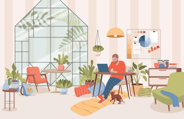 Man sitting at home and working distance with laptop vector