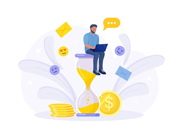 Man sitting on hourglass and working on laptop. time management, effective planning for productive work, stressful task, deadline, countdown. efficiency work time. multitasking concept