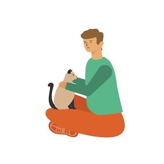 Man sitting hugging a cat