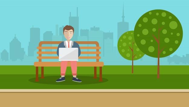 남자는 공원에 앉아