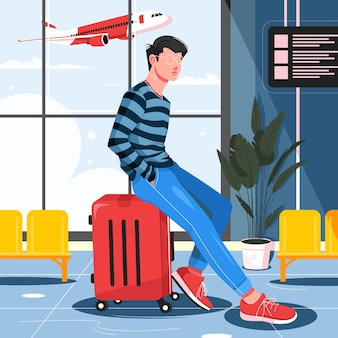 Человек сидит в чемодане в аэропорту иллюстрации