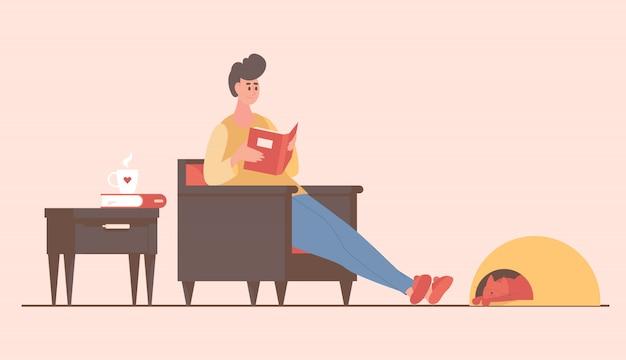 Укомплектуйте личным составом сидеть в кресле и читать иллюстрацию шаржа книги. пребывание и отдых дома концепции.