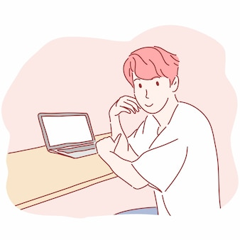Человек, сидящий перед портативным компьютером в рисованной
