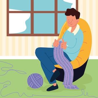 Человек сидит вязание