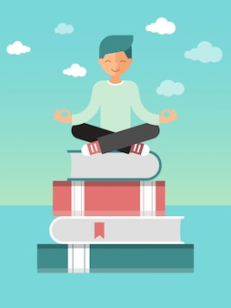Man sitting lotus pose on stack of books with bookmarks. self education and self control vector illustration. educational process.