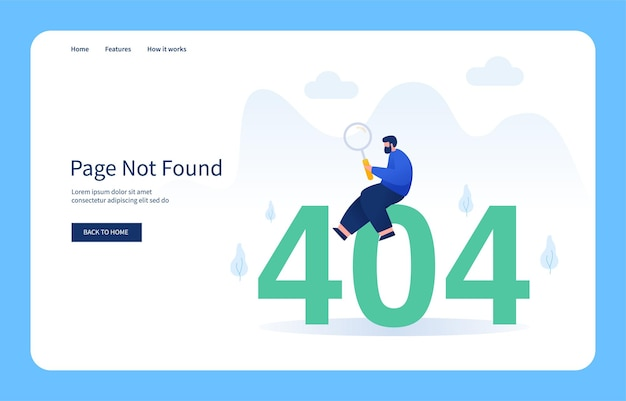 Man sitting on number 404 holding magnifying glass page not found empty state