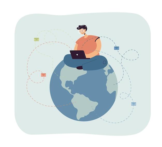 Человек сидит на земном шаре и отправляет электронные письма