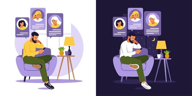 Человек сидит на диване с телефоном. друзья разговаривают по телефону днем и ночью. приложение для знакомств, приложение или концепция чата. плоский стиль.
