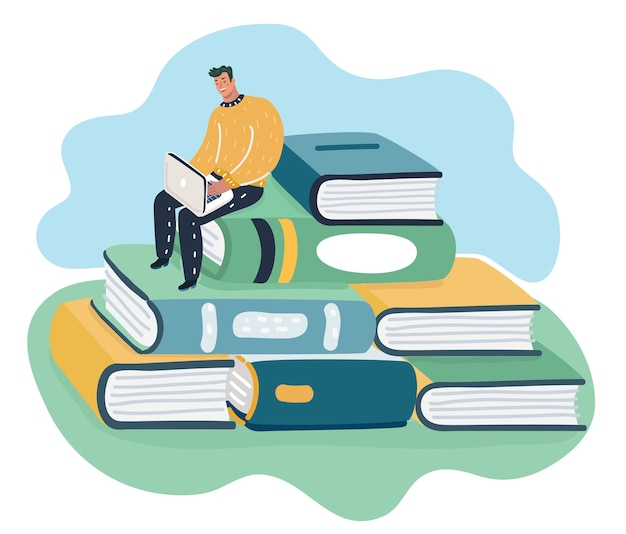 Man sitting and reading on a huge pile of books