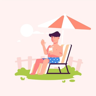 Man sitting in the sun staycation concept