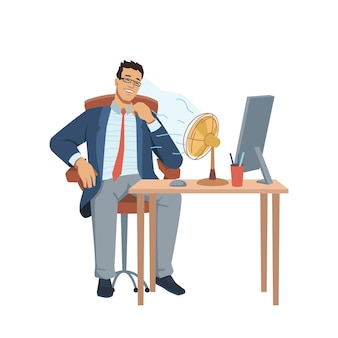 Man sitting at table with computer and stationery fan blowing on him businessman in glasses