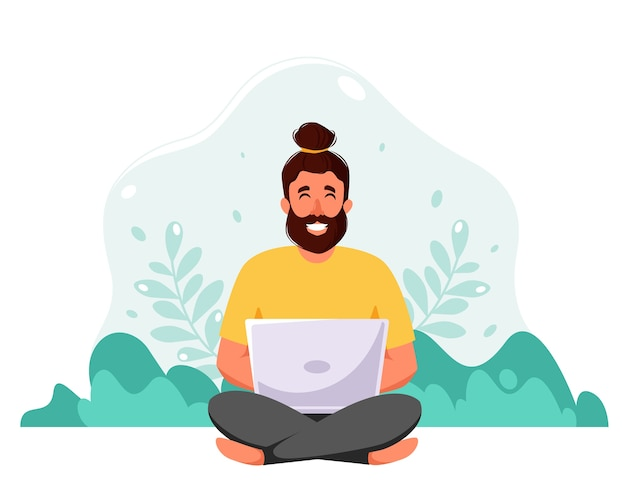 Man sitting with laptop on nature background. freelance, online studying, work from home concept.  in flat style.