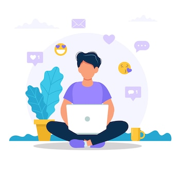 Man sitting with a laptop, social media icons.