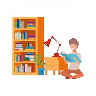 Man sitting with stack of books