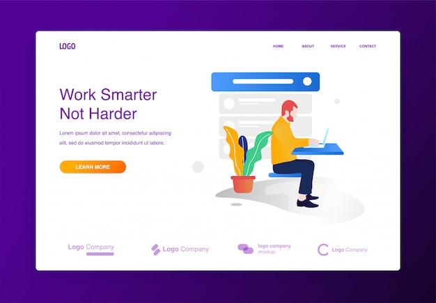웹 사이트 또는 방문 페이지에 대한 노트북 일러스트 컨셉 작업을 앉아 남자