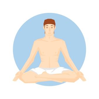 Man sitting in the yoga pose.