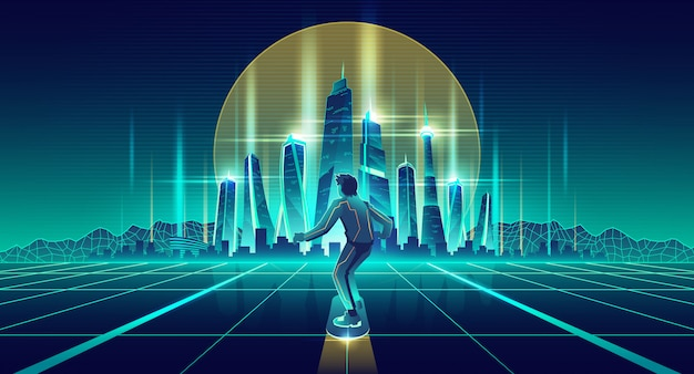 미래 대도시 벡터에서 스케이트 보드 남자