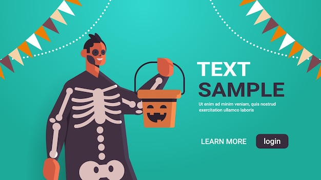 Man in skeleton costume holding bucket with pumpkin happy halloween holiday celebration concept portrait banner horizontal copy space vector illustration