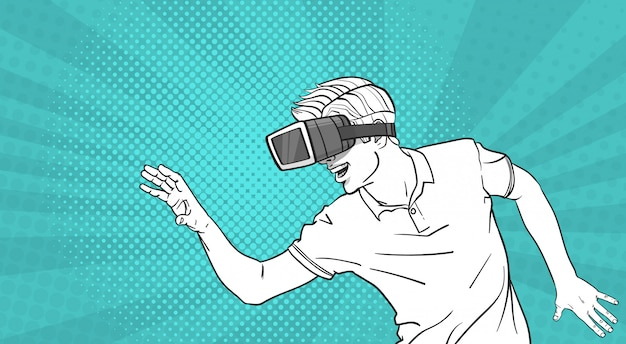 Man sketch wear goggles 3d glasses virtual reality gesturing pop art style background
