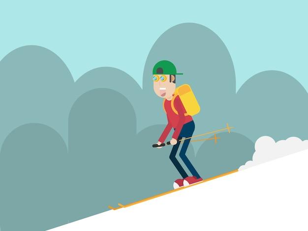 Man skiing on mountain flat style