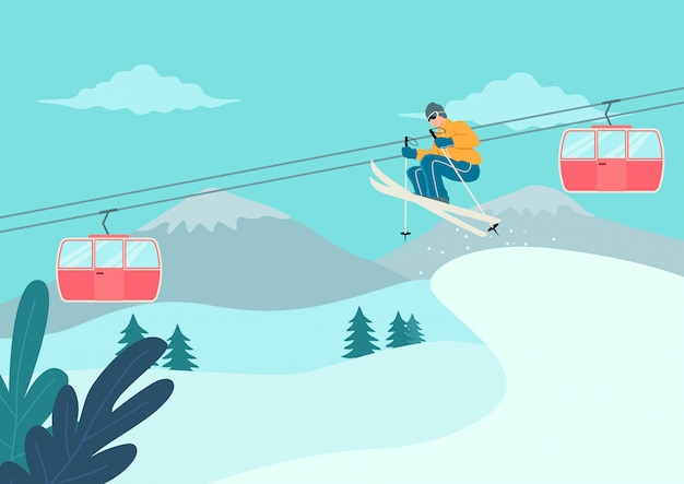 눈 덮인 산에서 스키 남자