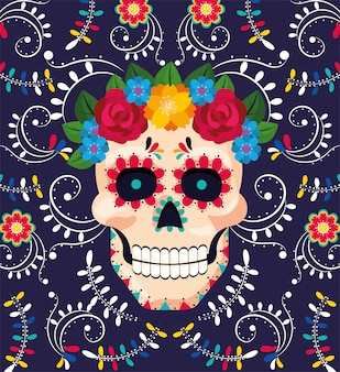 Man skull decoration with flowers to mexican event
