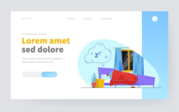 Man sleeping in bed and dreaming. male under duvet seeing dreams in bedroom, cloud above bed flat vector illustration. dreaming, night sleep concept for banner, website design or landing web page