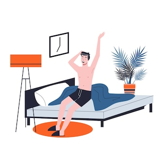 Man sleeping in the bed and waking up with the sun in a good mood. resting in bedroom and morning awakening.   illustration in cartoon style