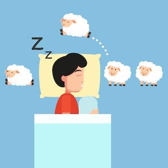眠っている男が眠っているイラストに羊を数えます。