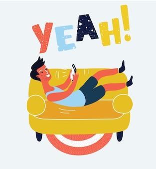 Man sleeping at home on sofa vector illustration
