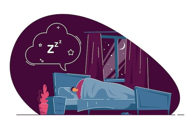 침대에서 자고 꿈꾸는 남자