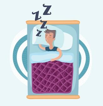 男は毛布の下のベッドで寝て、パジャマを着て、横になっている、白い背景の上面図漫画イラスト。毛布の下のベッドで横になっているパジャマの側で寝ている男のトップビュー