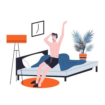 男はベッドで寝て、陽気な気分で目を覚ます。寝室で休んで朝の目覚め。漫画のスタイルのイラスト