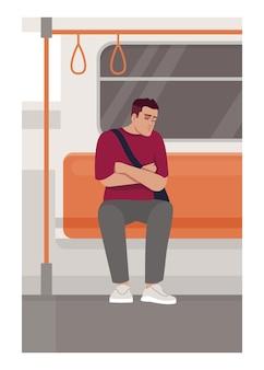 電車の中で眠っている男セミフラットベクトルイラスト。公共交通機関で疲れた男性労働者。眠っている人は通勤に座っています。商用利用のためのメトロトラム乗客2d漫画のキャラクター