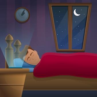夜窓の横に寝ている男
