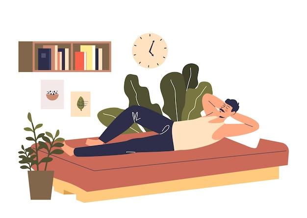 Человек спит на тренере. мужской мультипликационный персонаж мечтает или дремлет в спальне. концепция здорового сна и удобной кровати. плоские векторные иллюстрации