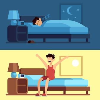 目を覚ます眠っている男。夜に布団の下にいて、朝ベッドから出る人。快適なマットレスで安らかに眠る