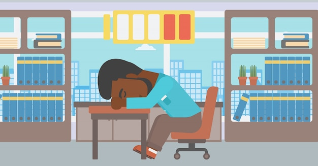 Man sleeping at workplace vector illustration.