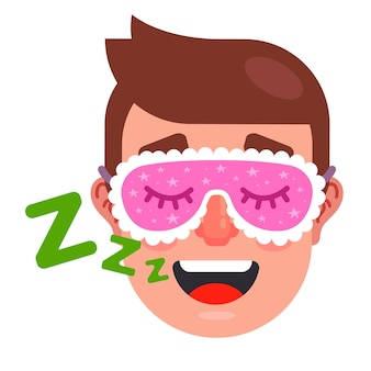 Человек спит с маской сна. храпящий человек. плоские векторные иллюстрации.