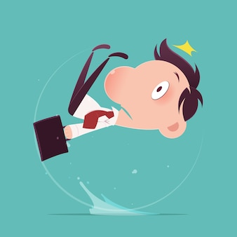Man slipped on a water puddle, illustration-vector