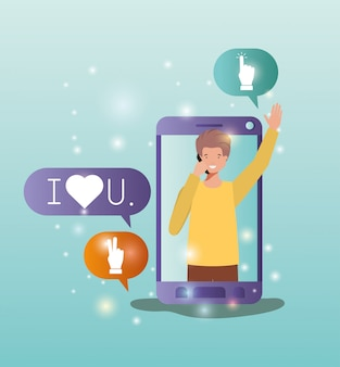 Man in smartphone with social media bubbles