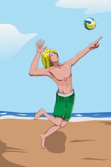 ビーチでバレーボールを壊す男