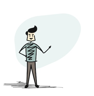 Man in snapping finger, cartoon sketch concept isolated vector illustration.