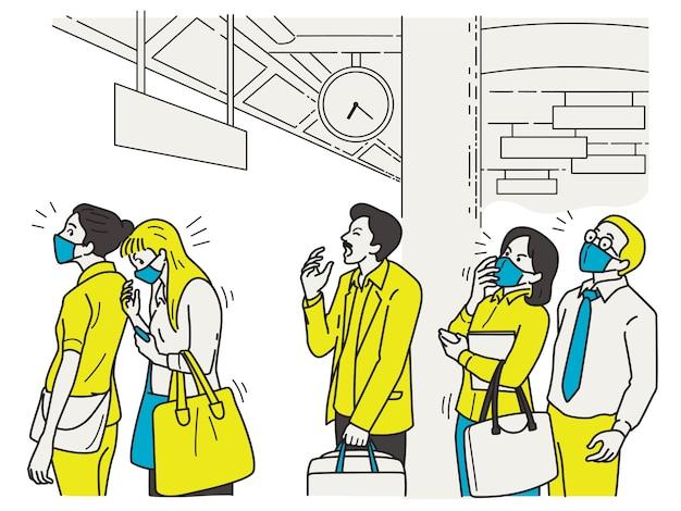 Человек чихает во время очереди